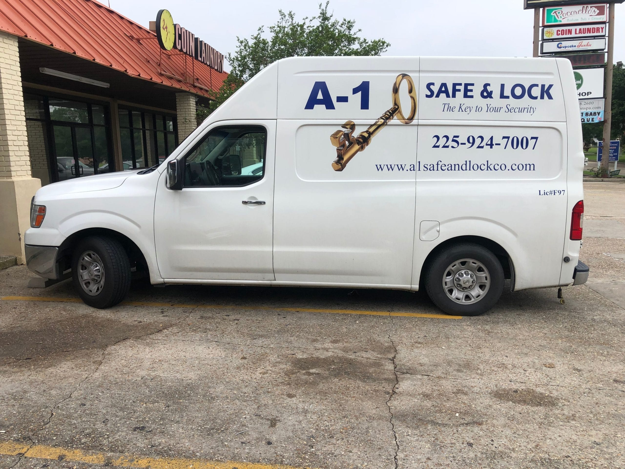 The A1 Safe & Lock mobile locksmith van parked in front of one of our clients.