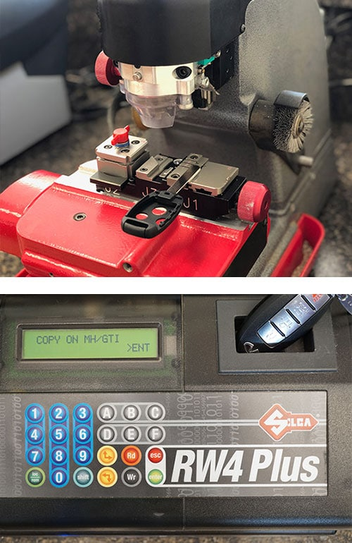 transponder head car key being cut (top) and an automotive fob being programmed (bottom)