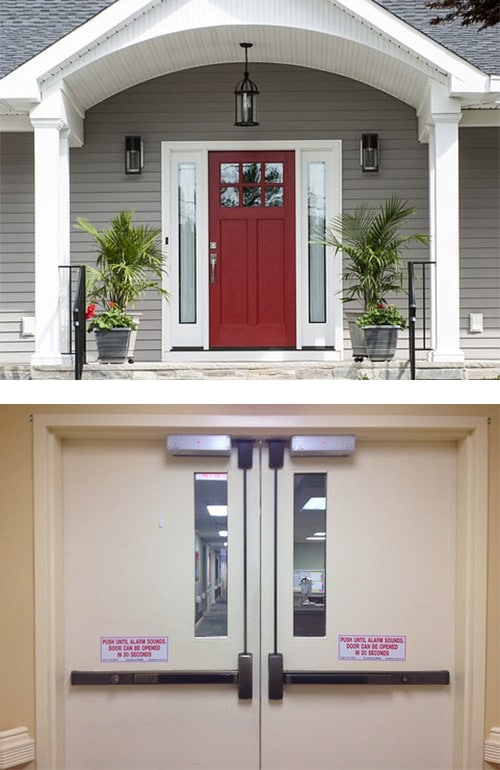 an attractive and secure door on a home (top) and a commercial door with maglocks at the top and crash bars for accessibility (bottom)
