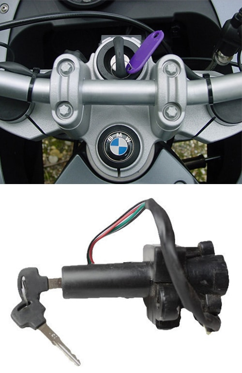 BMW motorcycle with a new key in the ignition (top) and a motorcycle ignition (bottom)