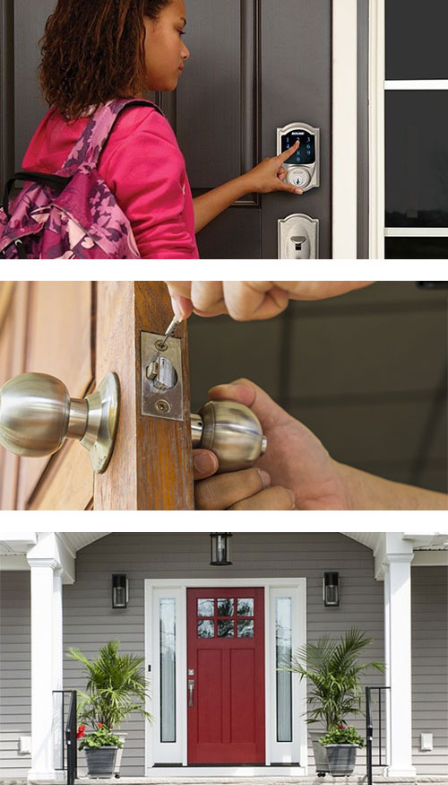 residential SmartLock in use (top) new doorknob being installed (middle), and a front door with brand new hardware (bottom)